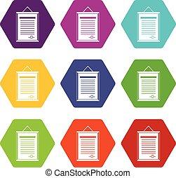 sertificate, 圖象, 集合, 顏色, hexahedron