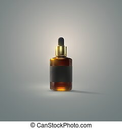 Serum essence bottle with dropper and black label. - Serum ...
