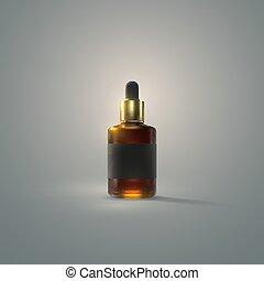 serum, label., black , fles, essentie, druppelteller