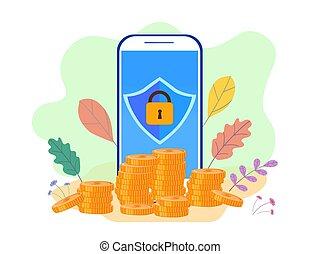 serv, plat, financier, horaire, illustration, téléphone, vecteur
