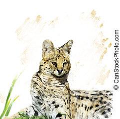 Serval Portrait - Digital Painting Of Serval Portrait