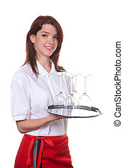 Serve as a young girl - Young Woman as a waitress serves ...