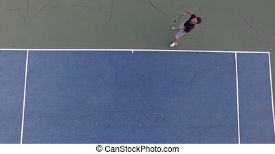 Serve with professional tennis player. Overhead shot