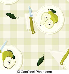Served apples and pears
