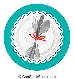 Served dinner plate with cutlery spoon fork and knife