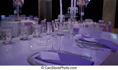 Served empty table, in the wedding banquet room