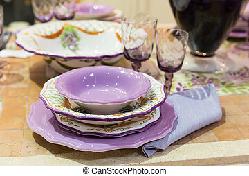 Served fashion table with glases and plates - Served with a...