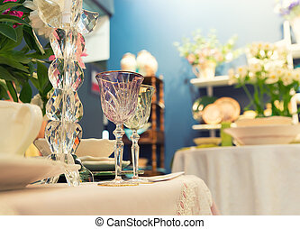 Served fashion table with glases - Served with a kitchen...