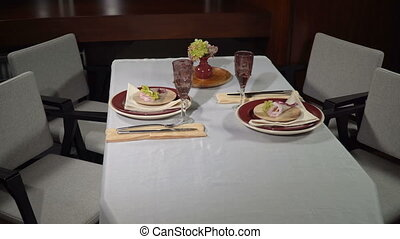 Served festive table with glasses - Served festive table in...