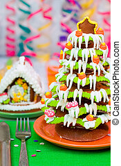 Gingerbread Christmas tree and house