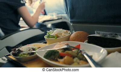Served Lunch in Aircraft. Meals on board.