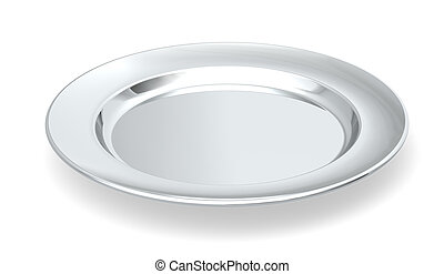 Served on silver platter. - A silver plate on white...