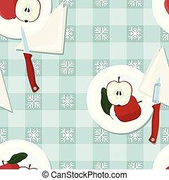 Served red apple illustration