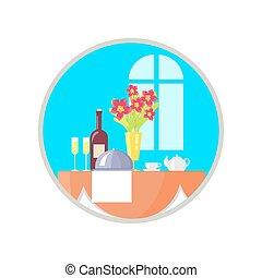 Served Restaurant Table Icon Vector Illustration