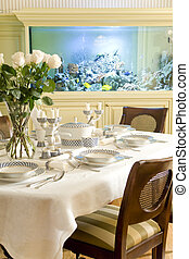 served table in a dinning room