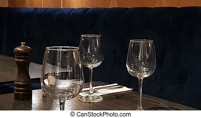 served table in restaurant for three