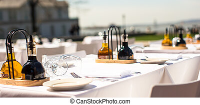 Served table set at restaraunt in New York outdoors