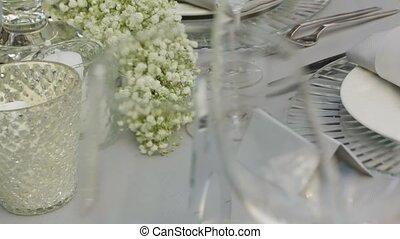 Served Table With Flowers - Served table with flowers...