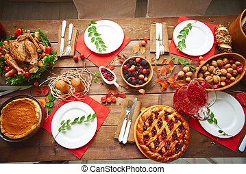 Served Thanksgiving table - Lots of traditional festive food...