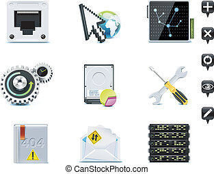 Server administration icons. P.3 - Set of the website or...
