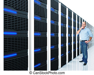server at work - man and datacentre with lots of server...