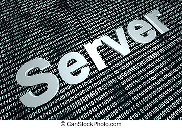 Server binary background - The word server in front of a...