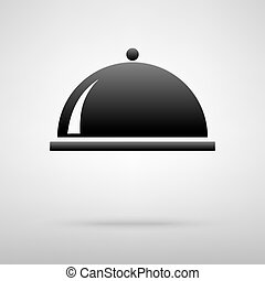 Server black icon. Vector illustration with shadow