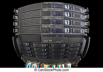 Server Blades and storage in a rack with network hub fisheye view