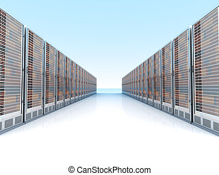 Server center	 - Server racks in a row. 3d illustration.