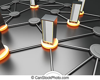 Server Cloud - Connected cloud of 19 inch server towers. 3D...