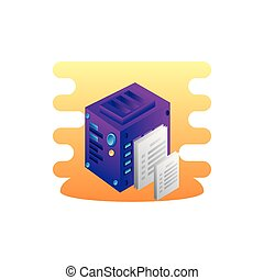 server data center with documents files
