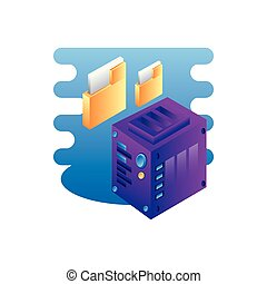 server data center with folders