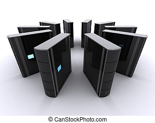 server - 3d rendered illustration of black servers