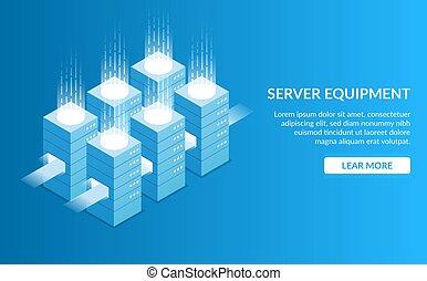 Server equipment. Concept of processing large amounts of data. Server room. Digital technology. Isometric vector illustration.