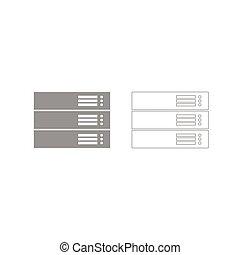 Server grey set icon .
