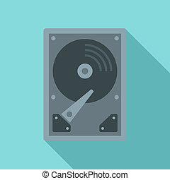 Server hard disk icon, flat style