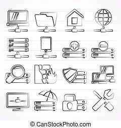 server, hosting and internet icons