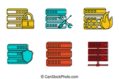 Server icon set, color outline style