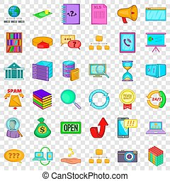 Server icons set, cartoon style