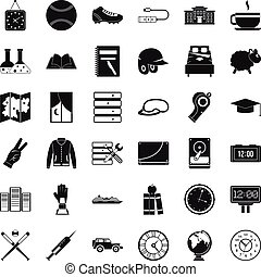 Server icons set, simple style