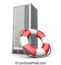 Server Life Belt - A life belt with a Server tower. 3d...
