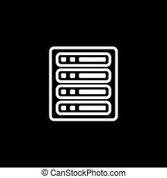 Server Line Icon On Black Background. Black Flat Style...