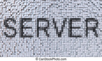 SERVER mosaic, caption made of moving pixels. Loopable...