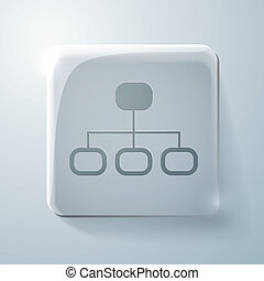 server network. Glass square icon