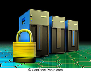 Server protection - Three tower servers being protected by a...