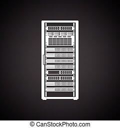 Server rack icon. Black background with white. Vector illustration.