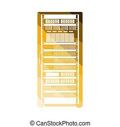 Server Rack Icon. Flat Color Ladder Design. Vector...