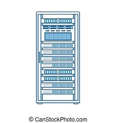 Server Rack Icon. Thin Line With Blue Fill Design. Vector...