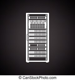 Server rack icon. Black background with white. Vector...