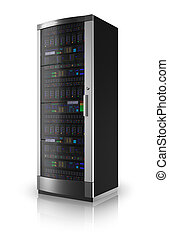 Server rack isolated on white reflective background *** Design of this server is my own and all text labels and numbers are fully abstract